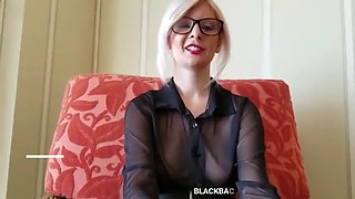 Blonde with glasses sucks black dick