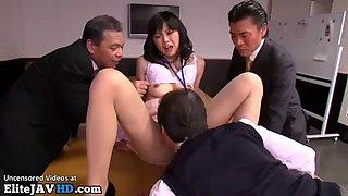 Japanese secretary fucks with old boss friends