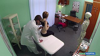 Timea in Doctor examines pretty patients pussy and prescribes a creampie - FakeHospital