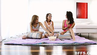 Three girls having a sleepover invite a guy over and get some cock