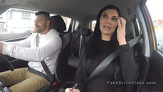 Busty Milf examiner sucks big cock in car