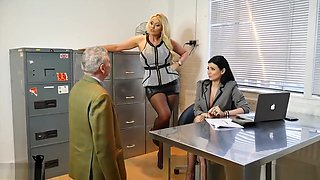 Sexy boss bitches turn office perv into nylon stockings worship foot slave