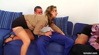 Hardcore group sex on the sofa with between two swinger couples