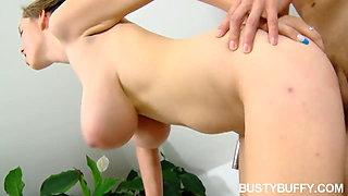 Busty Buffy deepthroats & fucks after hot tub