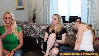 CFNM trio dominates sub guy during foursome