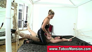 Bound hoe gets pussy toyed and nipples twisted by lesbo