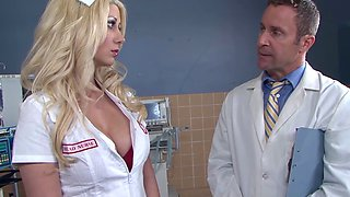 Big tit nurse getting her patient ready