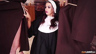 Two monks fuck wet pussy and deep mouth of sinful nun Susi Gala