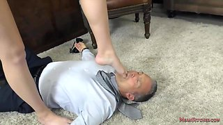 Sexy Blonde Woman, Charlotte Is Often Having Femdom With Her Boss, In His Office