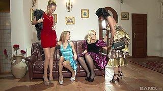 Babes in elegant dresses hook up for a lesbian session