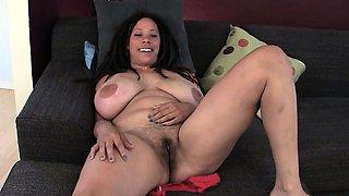 Busty MILF Shannon Rubbing Her Hairy Cunt