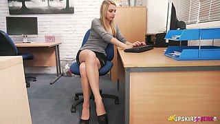 Sexy blonde secretary masturbating in the office