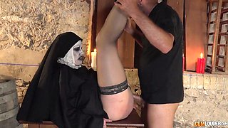 Zombie nun gets her ugly face covered in sticky jizz