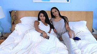 Brunette lesbian licks her sisters gf