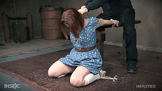 Submissive bent over the wooden bar whore Kel Bowie gets twat teased