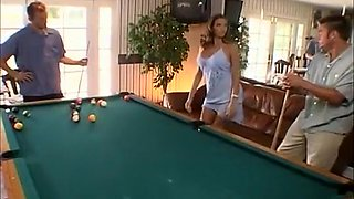 Wild Brunette Centerfold Gets Drilled on the Pool Table