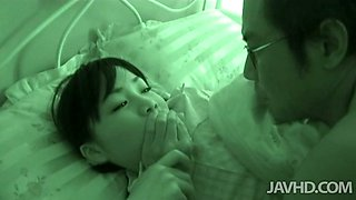 Cute Japanese teen Hikaru Momose eaten out by thirsty mature dude
