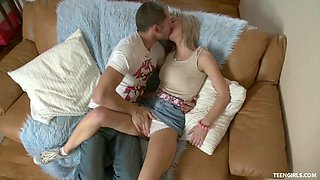 Emily Doll bends her taut teen body any way he wants for fucking