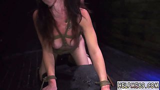 Brunette tart is tied up and abused by a guy and he puts long stick inside her holes