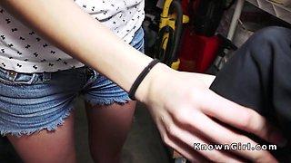 Amateur teen bangs old man in garage