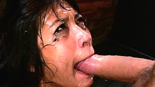 Asian gets her throat stuffed with cock