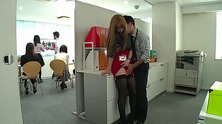 Office slut from Japan getting her muff throbbed hard