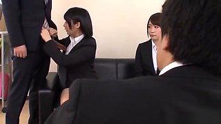 Japanese AV models enjoy an office foursome