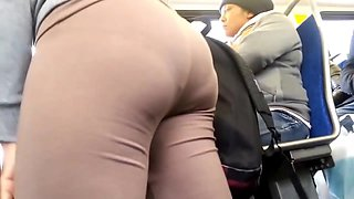 Big Ass in Brown Leggings showing deep panty line