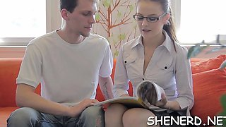 Decent teen in glasses goes eager fucking with her boyfriend