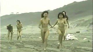 japanese naked girls running on the beach