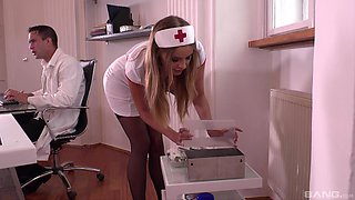 Candy Alexa is a horny nurse in need of a doctor's massive cock
