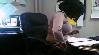 Candid Busty Black Secretary