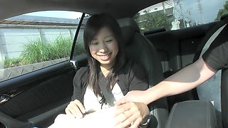Karin Asahi gives a hot blowjob in the car