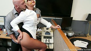 Saucy 4 eyed blondie Phoenix Marie gets banged from behind by bald dude Johnny Sins