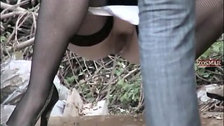 Amateur cuties in jeans and stockings pissing on voyeur cam