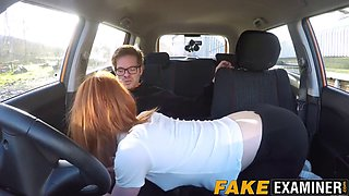 Young redhead slut pussy examined at her driving test