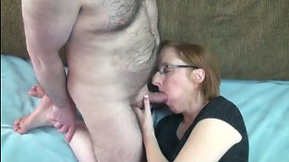Redhead mom in pantyhose gets her cunt licked and banged deep