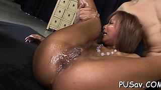 Slut with bald vagina stimulates her clit in pleasure