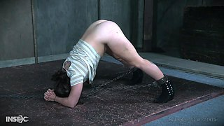 Chained to the floor, spanked and ass abused teen Tess Dagger