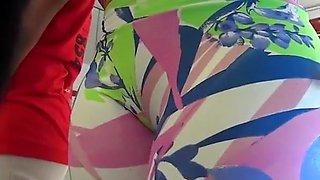 Latina teen in lycra shorts cameltoe