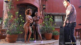 Ebony girls share white hammer like real whores