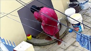 Aunty In Red Nighty Shower