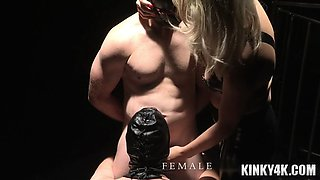 Hot mistress slave training with cumshot