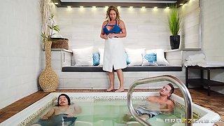 busty eva jacks him off in the hot tub