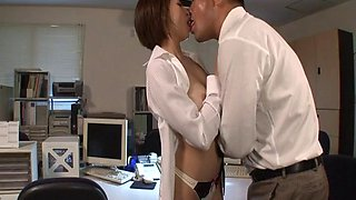 After work fuck with his sexy Japanese secretary slut