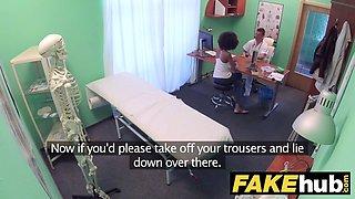 Fake Hospital Doctor fucks sexy ebony Brazilian student