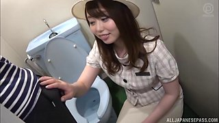 Japanese cutie Amane Shizuka is in a toiled ready to get nasty