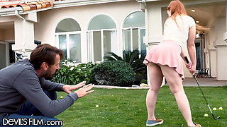 Cute Redhead Teen Gets Fucked By Step-DILF After Golf