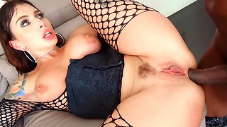 Lustful Ivy Lebelle is enjoying two long black pieces of cock
