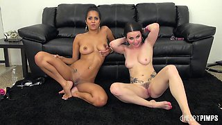 Horny girls go clit to clit and cum at the same time